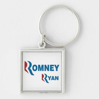 Romney - Ryan Llavero Cuadrado Plateado