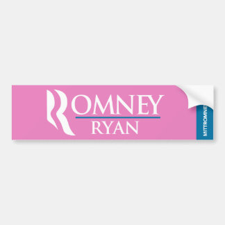 Romney Ryan Logo Bumper Sticker Pink Car Bumper Sticker