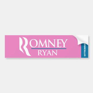 Romney Ryan Logo Bumper Sticker Pink Car Bumper Sticker