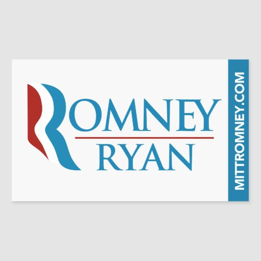 Romney Ryan Logo Sticker Rectangle White