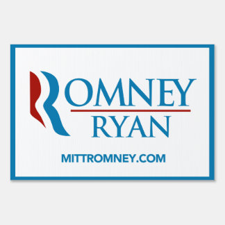 Romney Ryan Logo With Website Yard Sign (White)