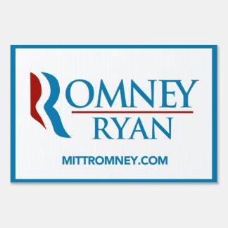 Romney Ryan Logo With Website Yard Sign (White)