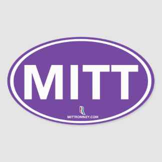 Romney Ryan Mitt Oval Sticker (Purple)