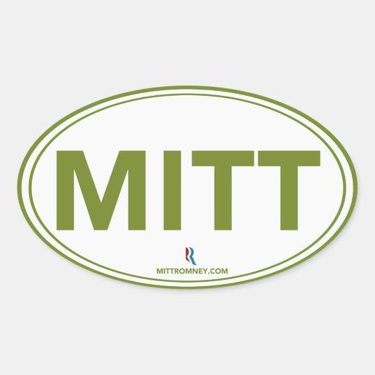 Romney Ryan Mitt Oval Sticker (White / Green)