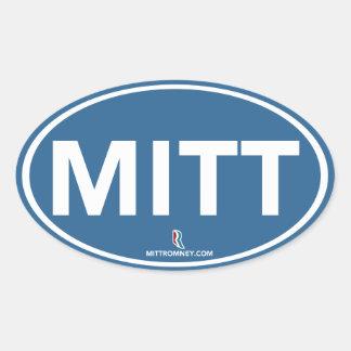 Romney Ryan Mitt Sticker Oval (Blue)