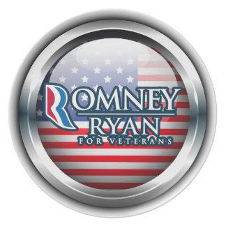 Romney Ryan para las placas 1 de los veteranos Plato De Comida