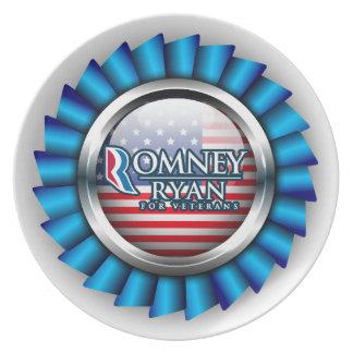 Romney Ryan para las placas 1 de los veteranos Platos De Comidas