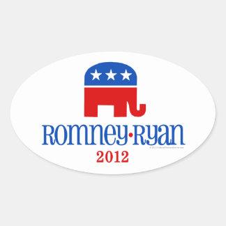 Romney/Ryan Patriot Elephant Oval Sticker
