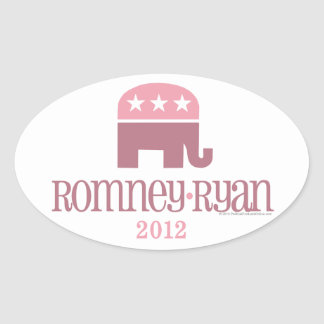 Romney/Ryan Pink Elephant Republican Women Oval Sticker