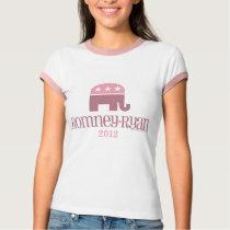 Romney/Ryan Pink Elephant Republican Women T-Shirt