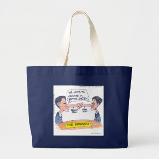 Romney Ryan Pinocchio Merger Funny Gifts & Tees Large Tote Bag