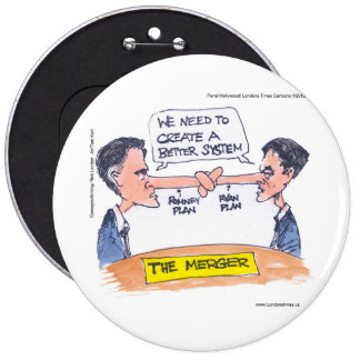 Romney Ryan Pinocchio Merger Funny Gifts & Tees Pinback Button