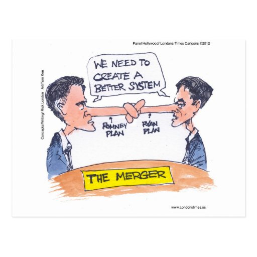 Romney Ryan Pinocchio Merger Funny Gifts & Tees Postcard