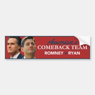 Romney Ryan Portrait America's Comeback Team Red Car Bumper Sticker