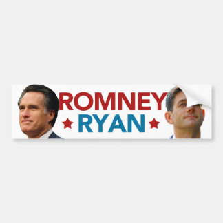 Romney Ryan Portrait Bumper Sticker (White)