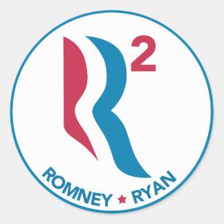 Romney Ryan R ajustado Etiqueta Redonda