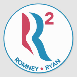 Romney Ryan R ajustado Pegatina Redonda