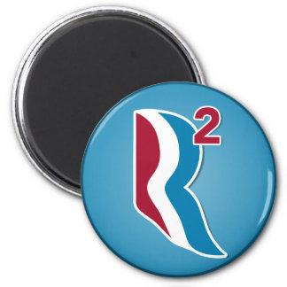 Romney Ryan R ajustó el logotipo redondo (azul) Imán Redondo 5 Cm