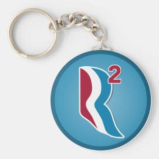 Romney Ryan R ajustó el logotipo redondo (azul) Llavero Redondo Tipo Pin
