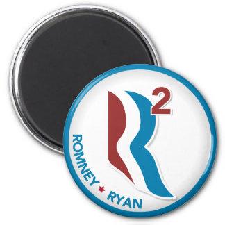 Romney Ryan R ajustó el logotipo redondo (blanco c Imán Redondo 5 Cm