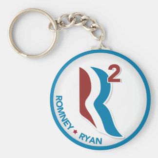 Romney Ryan R ajustó el logotipo redondo (blanco c Llavero