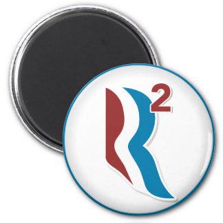 Romney Ryan R ajustó el logotipo redondo (blanco) Imán Redondo 5 Cm