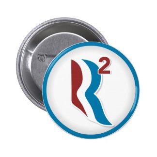 Romney Ryan R ajustó el logotipo redondo (blanco) Pin Redondo 5 Cm