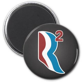 Romney Ryan R ajustó el logotipo redondo (gris) Imán Redondo 5 Cm