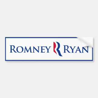 Romney Ryan R Logo Blue Border Bumper Sticker