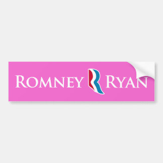 Romney Ryan R Logo Pink Background Bumper Sticker Car Bumper Sticker