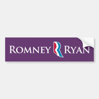 Romney Ryan R Logo Purple Background Bumper Bumper Sticker