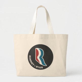 Romney Ryan R Logo Round (Black) Large Tote Bag