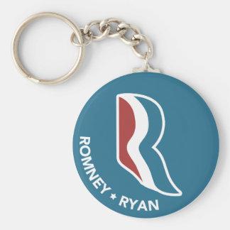 Romney Ryan R Logo Round (Blue) Keychain