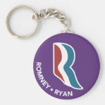 Romney Ryan R Logo Round (Purple) Key Chain