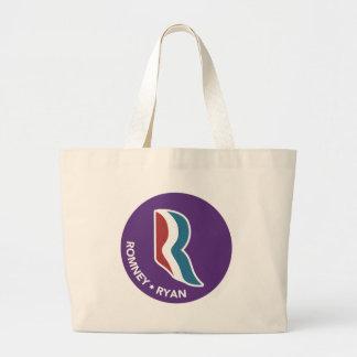 Romney Ryan R Logo Round (Purple) Large Tote Bag