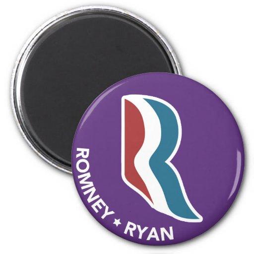 Romney Ryan R Logo Round (Purple) Refrigerator Magnet