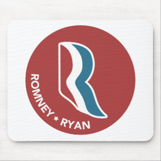 Romney Ryan R Logo Round (Red) Mousepads