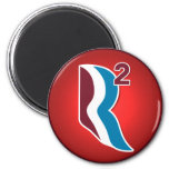 Romney Ryan R Squared Logo Round (Red) Refrigerator Magnets