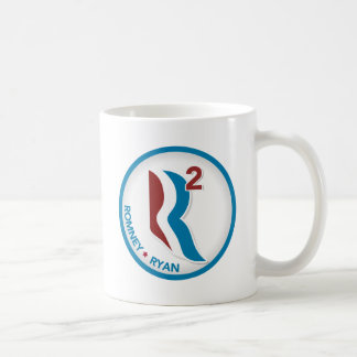 Romney Ryan R Squared Logo Round (White with Text) Coffee Mugs