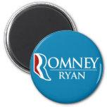 Romney Ryan redondo (azul claro) Imanes De Nevera
