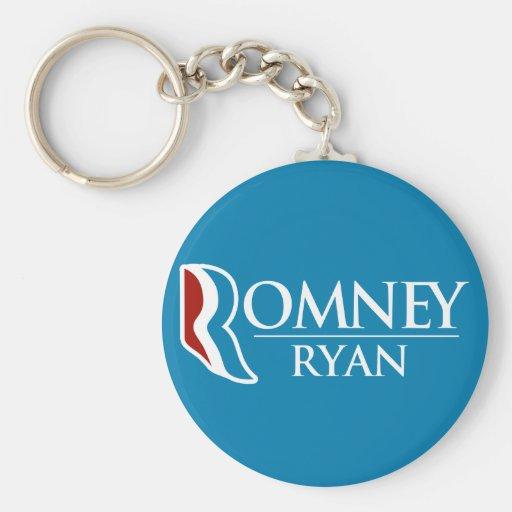 Romney Ryan redondo (azul claro) Llavero Redondo Tipo Pin