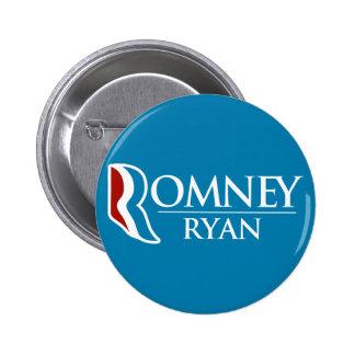 Romney Ryan redondo (azul claro) Pin