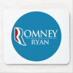 Romney Ryan redondo (azul claro) Tapete De Ratón