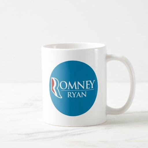 Romney Ryan redondo (azul claro) Tazas