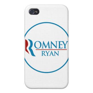 Romney Ryan redondo (blanco) iPhone 4 Carcasa