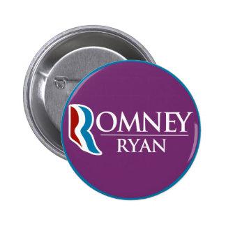 Romney Ryan redondo (púrpura) Pin Redondo De 2 Pulgadas
