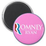 Romney Ryan redondo (rosa) Imán De Frigorifico