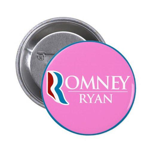 Romney Ryan redondo (rosa) Pins