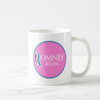 Romney Ryan redondo (rosa) Taza Clásica
