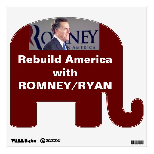 ROMNEY/RYAN Republican Elephant Wall Decal
